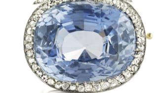 Russisk Fabergé safir- og diamantbroche, ca. 1900. Vurdering: 250.000 kr.