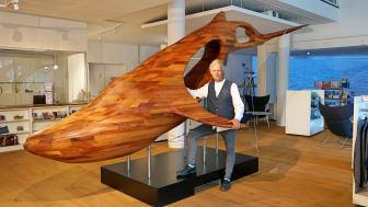 """Das Kunstobjekt """"Blue Whale"""" ab sofort im Welcome Center Kieler Förde zu bestaunen"""