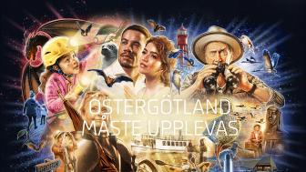 Samlingsbild av de fyra illustrationer som andra aktörer får använda för att marknadsföra sina platser i Östergötland