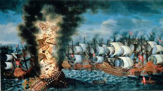 """""""Slaget vid Öland"""", målning av Claus Møinichen. Foto: Kalmar läns museum"""