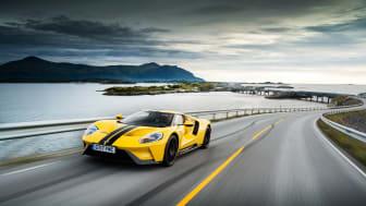 Populær: Her er supersportsbilen Ford GT på Atlanterhavsveien i Norge.