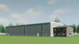 Visualisering av den nya lager- och logistikanläggningen i Vindelns kommun utanför Umeå.