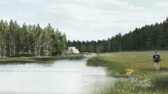 Två reningsdammar på sammanlagt 3,3 hektar ska hantera lakvatten från gravar och föroreningar från tippmarken i projekt Järva begravningsplats. Bild: Arkitekt Kristine Jensen.