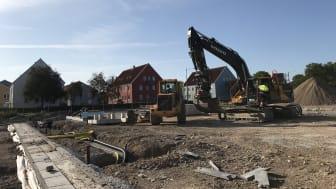 Från bygget av kvarteret Bläckfisken 3 i Visby.