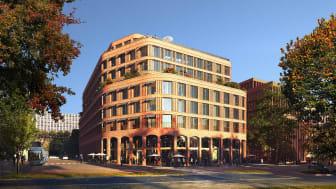 Det nya hotellet blir en portalbyggnad och en självklar destination i Hagastaden. Illustration: AIX / MIR.