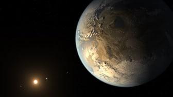 Kepler-186f är en exoplanet som har likheter med jorden och som kretsar runt sin röda moderstjärna i stjärnbilden Svanen. Bild: NASA Ames/SETI Institute/JPL-Caltech