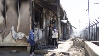 Branden som bröt ut i Morialägret den 8 september gjorde över 12 000 personer hemlösa. Foto: Läkare Utan Gränser.