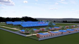 3D billede af den kommende gård
