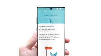 Ansicht der Tinnitus-App Kalmeda