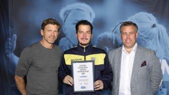 Leo Bernava, Nya Södertälje KFF. Här tillsammans med Jesper Blomqvist och Mikael Tykesson.
