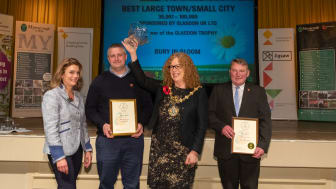 Blooming brilliant! At the awards ceremony are (from left) Teresa Potter, North West in Bloom judge; Kevin Dickinson, grounds maintenance manager; the Mayor of Bury, Councillor Jane Black; and Peter Turner, grounds maintenance foreman.
