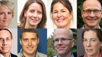 Ovan från vänster; Karin Meyer, Amelie Eriksson Karlström, Annika Jenmalm Jensen, Stefan James, Carlos Vaca Falconi, Sven Kjellström, Torkel Gren, Sofia Kälvemark Sporrong