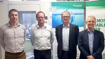 In the picture from left -  Kristian Kirwin – National Engineering Manager, Airepure and Roger Van Oosten – CEO, Airepure, Alan O'Connell, President Asia Pacific, Camfil and Bill Wilkinson, Managing Director, UK, Camfil
