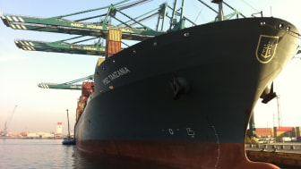Container ship in the Port of Antwerp, Belgium