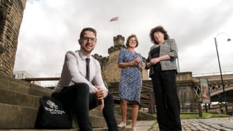 Northumbria University student Christopher Brownhill pictured with Caroline Theobald CBE and Zélie Guérin.