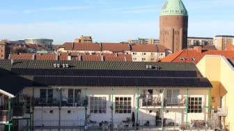 Solceller på Malmös tak, här bostadsrättsföreningen Cykeln i Sofielund. Foto: Jan Svärd, ordförande BID Sofielund