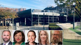 De grönblå gruppledarna i Stockholms kulturnämnd: ordf. Jonas Naddebo (C), Hanna Gerdes (L), Kristina Lutz (M),  Johanna Holmdahl Hedin (KD) och Micke Seid (MP).