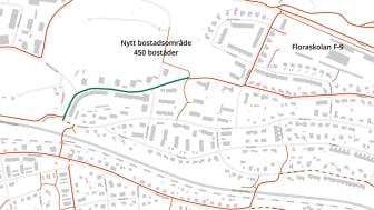 Den grönmarkerade gång- och cykelvägen vid Getbergsvägen är en av tre åtgärder som fått stöd av Trafikverket.
