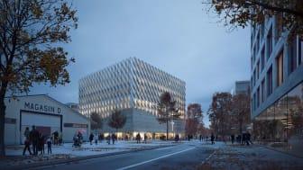 Arkitektbyrån Elding Oscarsons förslag på den nya kyrkan i Frihamnen.