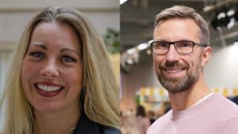 Johan Sköld, lärare på Forshagaakademin i Forshaga, pristagare Guldäpplet 2019 och Susanne Kjällander, forskare Stockholms universitet och vinnare av Guldäpplejuryns särskilda pris 2019.