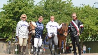 Maria Gretzer, Fredrik Janetzky,  Klara Hammarström och Adrian Kolgjini tävlar i Hästarnas Mästare på Jägersro på fredag.