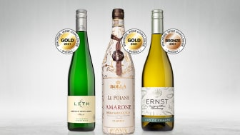 Guld till Bolla Le Poiane Amarone 2016. Guld till Leth Grüner Veltliner 2020. Brons till ERNST Sauvignon Blanc 2020. Tre vinnarviner från Domaine Wines i Vinordic Wine Challenge.