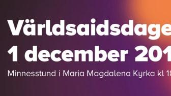 Världsaidsdagen 1 december - Minnesstund och konsert