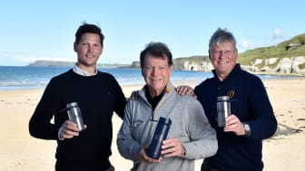 (L-R) Anders Jacobson, co-founder and CEO of Blue, the impact led investment company owning Bluewater, Tom Watson, Global Ambassador for The Open, and Martin Slumbers, Chief Executive of The R&A, launch The Open Water initiative at Portrush.