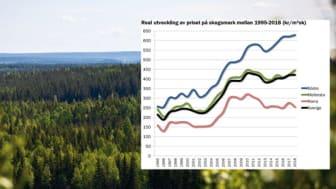 Stigande pris på skogsmark i södra- och mellersta Sverige, men tillbakagång i norr