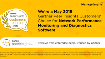 OpManager har utsetts till Gartner Peer Insights Customers' Choice 2019 för Network Performance Monitoring and Diagnostics Software