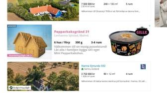Under november och december annonserar Gille sina hus på hemnet.se. De finns nu ute till försäljning i Sveriges livsmedelsbutiker.
