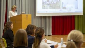 Högskolans prorektor Lena Mårtensson inledde nätverksträffen.