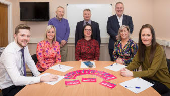 Front Row (L-R): Paul Gordon, Northern Regional College; Lisa Mulholland, Department for the Economy (DfE) ; Rhonda Lynn, Mid & East Antrim Borough Council; Shirley Swift (DfE); Michelle Bellingham, NRC.  Back Row (L-R): Martin Clark, Causeway Coast