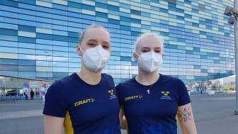 Hanna Rydén och Sofia Redman klara för EM-final i synkron trampolin