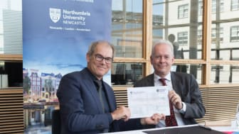 l-r Dr Geleyn Meijer and Professor Andrew Wathey in Amsterdam with the signed partnership document