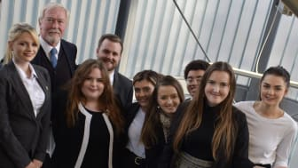 Sir Howard Morrison with Northumbria Law School students