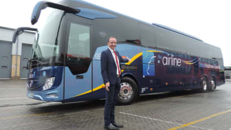 Oxford Bus Company Managing Director Phil Southall with new Airline luxury coach