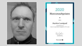 Universitetslektor Marthin Landgraff ved NTNU i Gjøvik vant Norconsultprisen 2020.