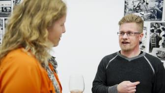 Matbloggaren Annika Ingemarsson och charkmästaren Gustav Erikson på Svenskt Kötts pressträff om #svenskchark