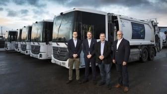 Renhållningsbolaget Urbaser har fått leverans av 50 nya biogasdrivna Mercedes-Benz Econic lastbilar som ska användas i Stockholms Stad.