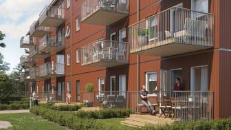 Illustration av gårdssida med balkonger & altaner samt gemensamma gröna ytor, BoKlok Haga i Älmhult.