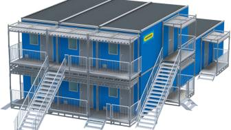 EnterSafe är utvecklat speciellt för temporära modullösningar och fungerar lika bra vid envåningsetableringar på en byggarbetsplats som större tvåvåningsetableringar för exempelvis evakueringsboenden.