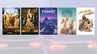 """Jumanji - The Next Level"" © Sony Pictures ""Ready or Not"" © 20th Century Fox ""Framåt"" © 2020 Disney/Pixar ""The Peanut Butter Falcon"" © Noble Entertainment ""Sista natten med gänget"" © Universal"