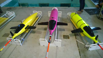 KONGSBERG's new ocean gliders can be seen at AUVSI this week. L-R: Kongsberg Seaglider, Oculus shallow water and Seaglider M6 deepwater system