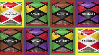 Aakkoset-pussit löytyvät nyt suomen lisäksi inarinsaamen, arabian, venäjän, viron, ruotsin ja englannin kielillä