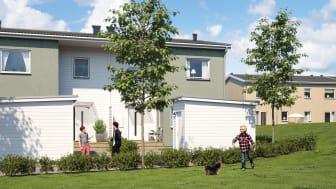 Illustration av entrésida med förstukvist och eget förråd, samt härliga grönytor, BoKlok Botildenborg i Malmö.