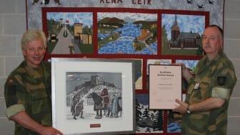 Forsvaret ved Rena Tekniske Verksted vant EcoOnline Archive Award. Tore Oustad  og Kjell Røineslien (t.h). (Foto: Kjell Einar Hamnes, EcoOnline)