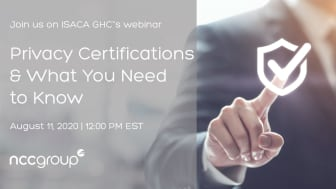 WEBINAR: Privacy Certifications and what you need to know   Hosted by ISACA GHC