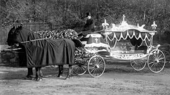 Foto: Kulturmagasinet. Begravningsvagn från slutet av 1800-talet som visas i Öppet magasin.