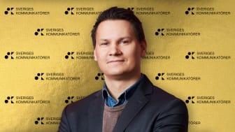 Tero Marjamäki, Head of Communications & Sustainability Blocket, tog emot priset bästa innovativa kommunikation.